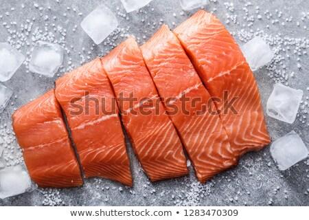 Сток-фото: Ice · Cube · лосося · изолированный · белый · воды · продовольствие