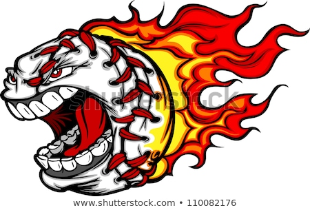 softball or baseball face flaming vector cartoon stock photo © chromaco