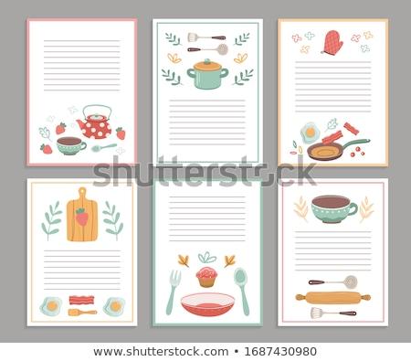 Kookboek houten lepels witte voedsel Stockfoto © zhekos