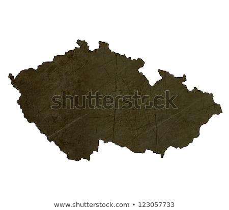 sötét · térkép · Csehország · mintázott · izolált · fehér - stock fotó © speedfighter