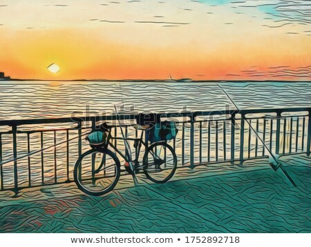 Bicikli promenád naplemente égbolt tenger hegyi kerékpár Stock fotó © rglinsky77