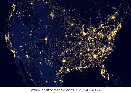 アメリカ合衆国 · 街の明かり · 地図 · 要素 · 画像 · 海 - ストックフォト © manaemedia