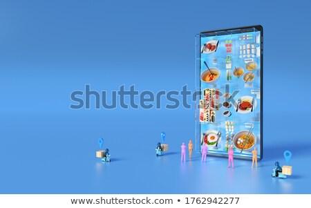 3d mensen smartphone witte business metaal zakenman Stockfoto © Quka