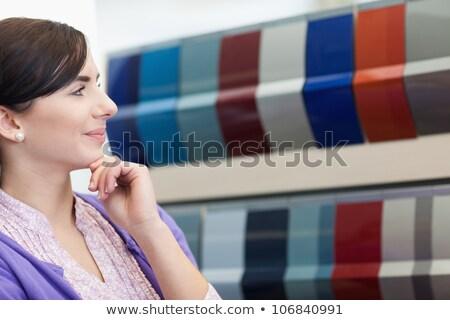 Nő mosolyog mi szín választ paletta boldog Stock fotó © wavebreak_media