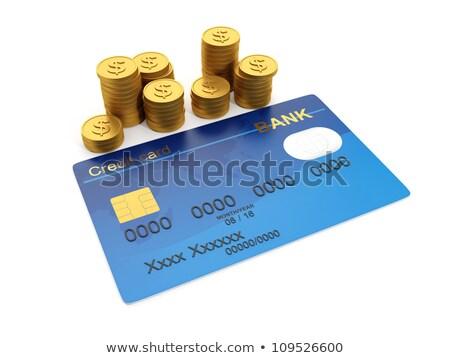 ilustração · 3d · dinheiro · cartão · de · crédito · grupo · ouro · moedas · de · ouro - foto stock © kolobsek