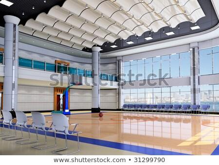 basketbalveld · half · basketbal · 3d · render · sport · achtergrond - stockfoto © artush