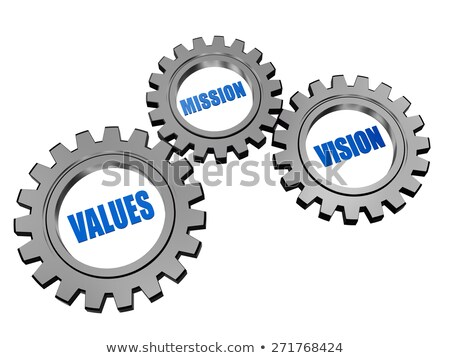 vision mission goal in silver grey gears stock photo © marinini