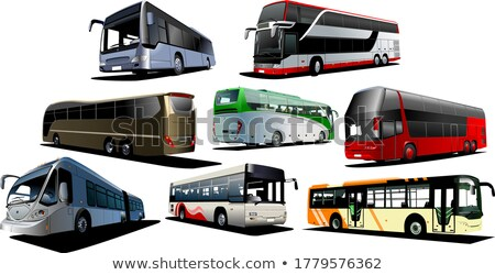 Eight city buses. Coach. Vector illustration stock photo © leonido