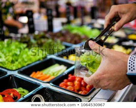 Салат · Бар · свежие · овощи · служивший · перчинка · одевание - Сток-фото © rohitseth