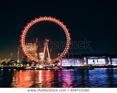London Eye and London Cityscape in the Night, United Kingdom Stock photo © anshar