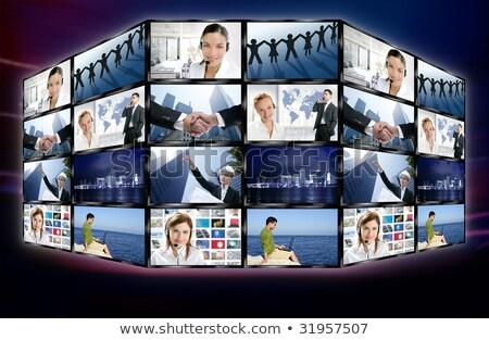 Tech telewizja wideo komunikacji ekranu handshake Zdjęcia stock © lunamarina