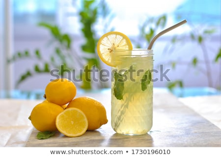 fresh cold refreshment drink mineral water soda with lime and mint Stock photo © juniart
