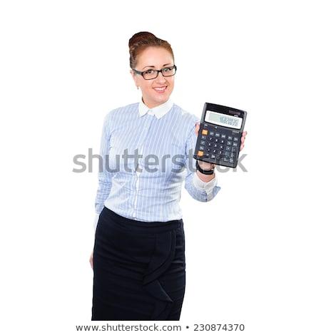 Atraente sorridente mulher de negócios calculadora isolado Foto stock © juniart