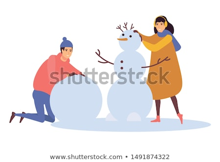 Kardan adam kadın kar kış şapka havuç Stok fotoğraf © mintymilk