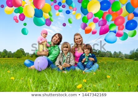 man · bos · ballonnen · partij · gelukkig - stockfoto © feedough