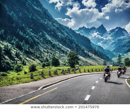 Group of bikers on the road in Alps stock photo © Anna_Om