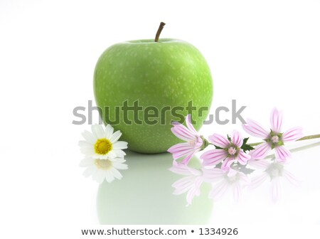 Grenn Apple with flowers and reflection stock photo © iko