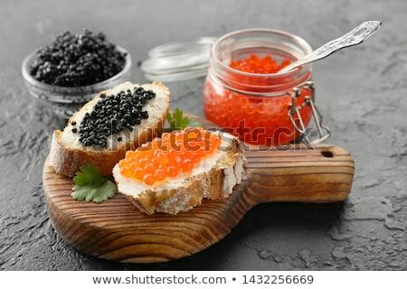 vermelho · preto · caviar · comida · pão · colher - foto stock © Alegria111