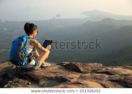 gyönyörű · nő · ül · hegy · felső · természet · zöld - stock fotó © witthaya
