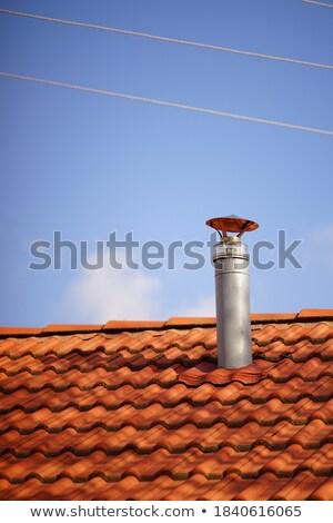 古い ブラウン 赤 屋上 青空 空 ストックフォト © nuiiko