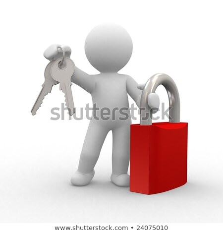 3d human with keys in hand stock photo © kirill_m