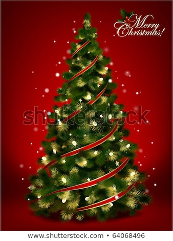 christmas card bells and fir tree isolated on white background stock photo © tetkoren