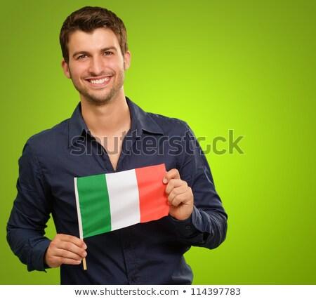 Italy flag. Man holding banner with Italian Flag. Stock photo © stevanovicigor