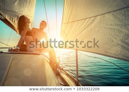 ストックフォト: 女性 · 船乗り · 海洋 · 笑顔 · ファッション · 夏