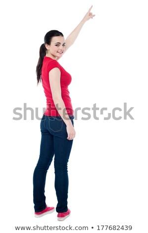 小さな · 十代の少女 · 立って · 指 · ポインティング - ストックフォト © stockyimages