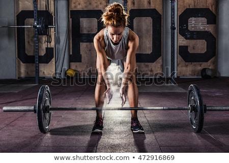 Siłowni kredy magnez ręce kobieta Zdjęcia stock © lunamarina