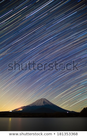 mount fuji lake shojiko and star trails of winter stars stock photo © shihina