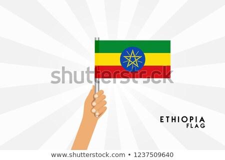 Etiopia mały banderą Pokaż federalny demokratyczny Zdjęcia stock © tashatuvango