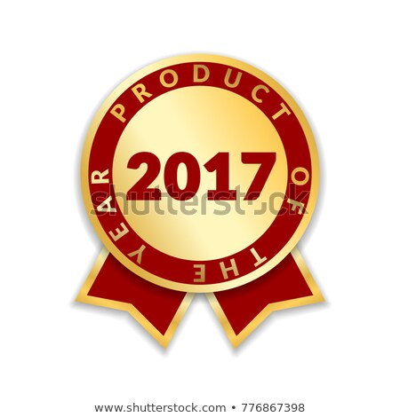 product of the year badge with golden ribbon and red background stock photo © liliwhite