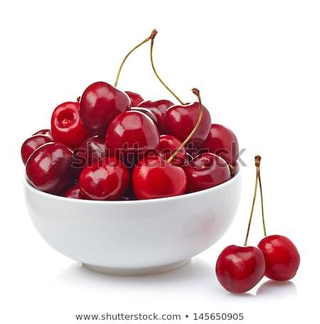 édes · cseresznye · friss · piros · tál · fa · asztal - stock fotó © stevanovicigor