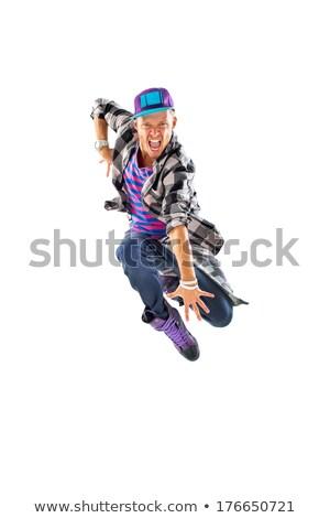 genç · atlama · grunge · duvar · dans · model - stok fotoğraf © dolgachov