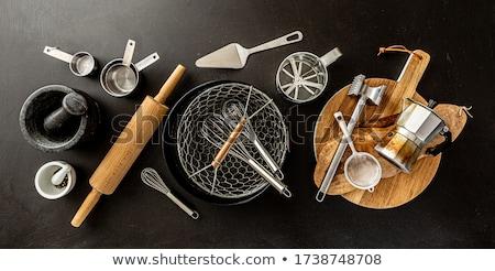 Mutfak gereçleri yalıtılmış siyah yeşil beyaz temizlemek Stok fotoğraf © martin33