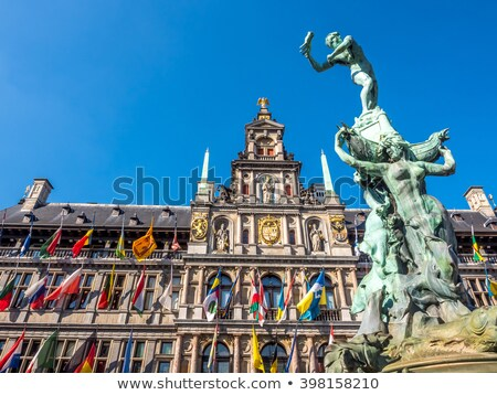 город зале фасад средневековых фонтан дома Сток-фото © neirfy