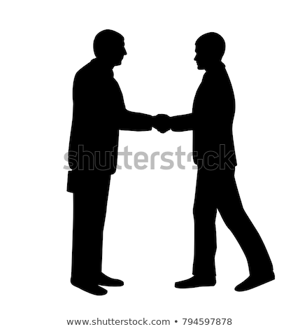 kézfogás · helyzet · sziluettek · férfi · üzletember · vállalati - stock fotó © Slobelix