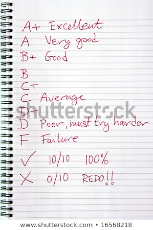 A teachers marks and comments written in red ink. Stock photo © latent