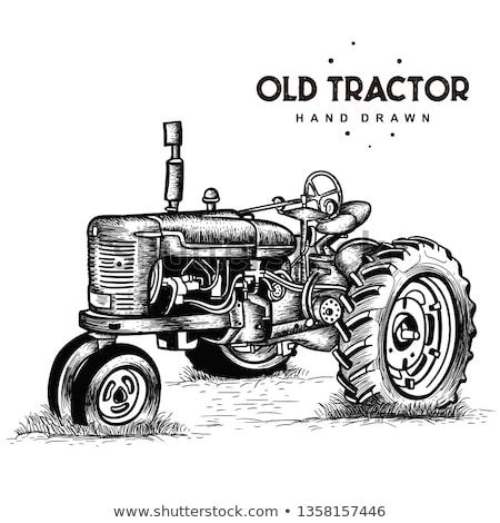Vieux tracteur jaune vert prairie étang Photo stock © SRNR