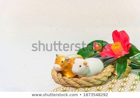 雄牛 小さな像 旧正月 飾り 白 ストックフォト © dezign56