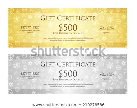 Сток-фото: Рождества · Подарочный · сертификат · снежинка · шаблон · золото · серебро