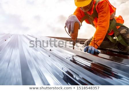 Foto stock: Telhado · janela · chaminé · blue · sky · céu · madeira