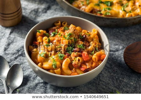 Stockfoto: Chili · Mac · plaat · macaroni · hamburger