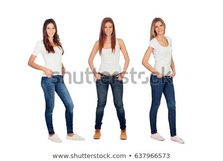 Three pretty girls in white shirts Stock photo © Aikon