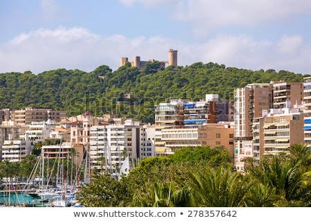 Palma de Majorca skyline with Bellver castle Stock photo © lunamarina