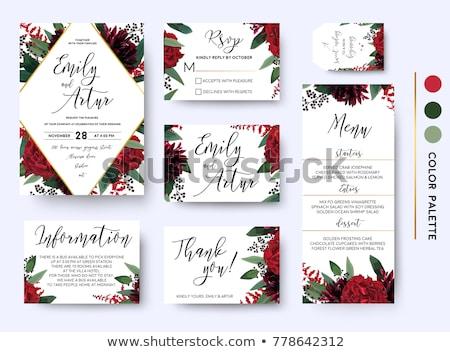 Esküvői meghívó keret vörös rózsák kép illusztráció szalagok Stock fotó © Irisangel