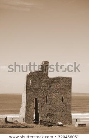 ballybunion castle on the cliffs of a beautiful beach stock photo © morrbyte