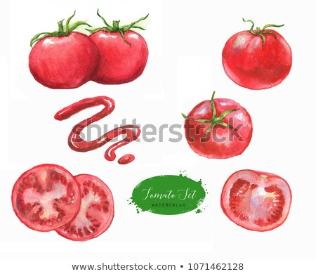 Watercolor whole and sliced tomatos isolated on white background Stock photo © artibelka