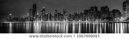 Chicago · sziluett · nyár · panoráma · panorámakép · kép - stock fotó © achimhb